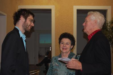 Festivalleiter Dominik Tschütscher mit Schauspielerin Monika Orthofer und Adolf Beinl von der Verwertungsgesellschaft der Filmschaffenden