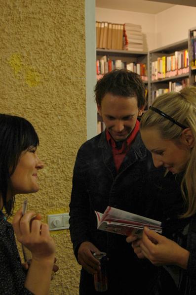 Katja Jäger und Stefan Deller vom film:riss-Team mit Mirjam Winter (re.)