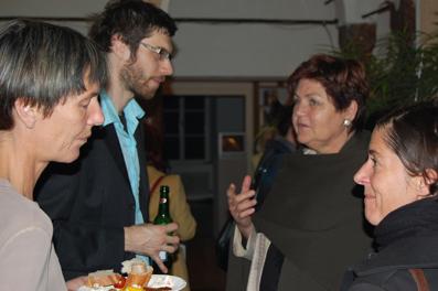 v.l.: Hildegard Fraueneder (Leiterin galerie5020), Dominik Tschütscher (film:riss), Waltraud Hofmeister (Gemeinderätin) und Cay Bubendorfer (Salzburger Monat)