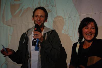 Stefan Deller und Katja Jäger vom film:riss-Team bei der Preisverleihung