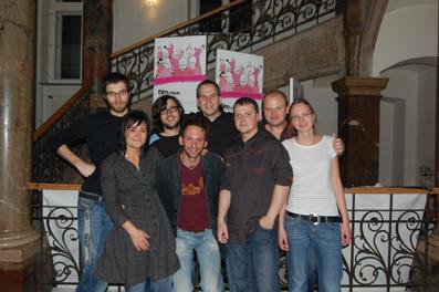 Das film:riss 08 Team, v.l.: Dominik, Katja, Samuel, Stefan, Roman, James, Robert und Elisabeth